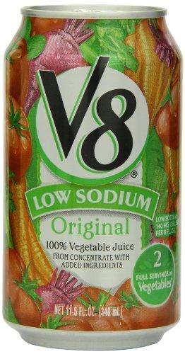 V8 низким содержанием натрия 100% овощного сока, 11,5 жидких унций Банки (Pack 24)