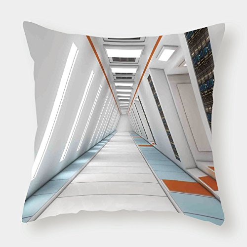 - iPrint Cotton Linen Throw Pillow Cushion Cover,Outer Space Decor,Architecture of Spacecraft Rocket Travel Cosmos Future Mass Coordinate,Orange White,Decorative Square Accent Pillow Case