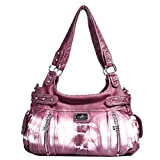 Angelkiss Designer Handbags Womens Purse Feel Soft Leather Multiple Top Zipper Pockets Shoulder Bags (Large)