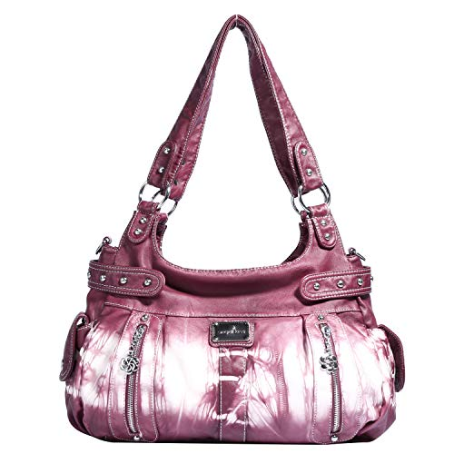 Angelkiss Design Handbags Womens Purse Feel Soft Lether Multiple Top Zipper Pockets Shoulder Bags Large … (Z-Pink) ()