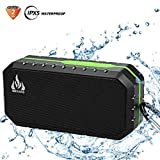 Bluetooth Wireless Speakers Waterproof IPX5 with HD Enhanced Bass Outdoor Wireless Portable Phone Speakers Built-in Mic Support FM AUX TF Card USB for iPhone iPad Android Phones Computer Etc. (Green)