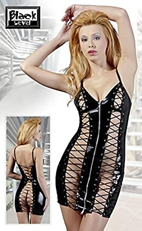 Black Level Peek A Boo PVC Corset Mini Dress XLarge by
