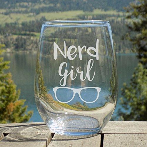 Nerd Wine Glass, Nerdy Woman Gifts, 20 oz Stemless Glass