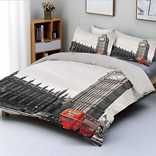 Duplex Print Duvet Cover Set Full Size,Big Ben Tower Begining of Westminster Bridge with Black Cab and Red Bus ImageDecorative 3 Piece Bedding Set with 2 Pillow Sham,Grey Black Red,Best Gift for Kids ()