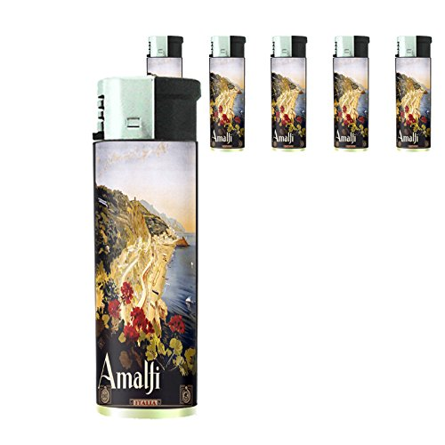 Refillable Electronic Lighter Set of 5 Pieces D-021 ITALY VINTAGE TRAVEL Amalfi 1910