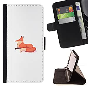 - Queen Pattern FOR LG G3 /La identificaci????n del cr????dito ranuras para tarjetas tir????n de la caja Cartera de cuero cubie - fox minimalist drawing kids white orange -