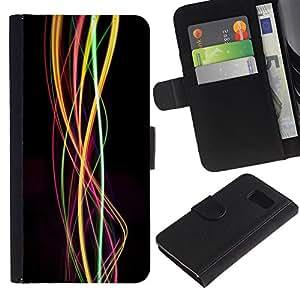 For Samsung Galaxy S6 SM-G920,S-type® Swirl Lights Bright Colors Colours - Dibujo PU billetera de cuero Funda Case Caso de la piel de la bolsa protectora