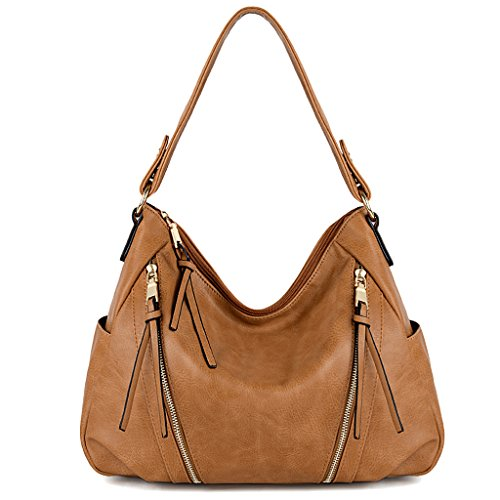 UTO Women Handbag PU Leather Purse Double Zipper Hobo Style 3 Ways Shoulder Bag A Brown 259 by UTO