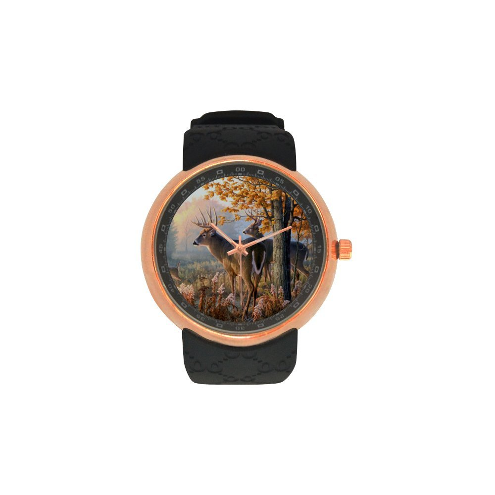 Novelty Gift Animal Deer Men's Rose Gold Plated Resin Strap Watch
