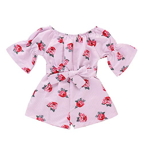 - YOUNGER TREE Kids Toddler Baby Girls Summer Outfit Off-Shoulder Sunflower Overall Romper Jumpsuit Short Trousers Clothes (Rose, 4-5 Years)