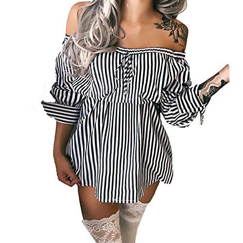 Mini rayures Dress Basique 2 Midi Soire paule de Loose Robe robe femmes Casual Tops Noir Mini hors Shirt Chemise Style longues T Tunique manches ngY4Unq86