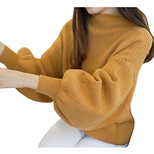 Price comparison product image Clearance Sale! Pervobs Women Turtleneck Sweater Warm Lantern Long Sleeve Loose Knit Sweater Jumper Outwear Top Blouse(Free,  Khaki)