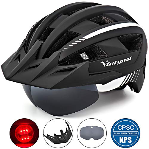 VICTGOAL Bike Helmet for Men Women with Led Light Detachable Magnetic Goggles Removable Sun Visor Mountain & Road Bicycle Helmets Adjustable Size Adult Cycling Helmets (Black White)
