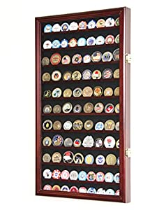L Military Challenge Coin Display Case Cabinet Rack Holder Stand Box w/UV Protection, Cherry Finish by sfDisplay.com, LLC.