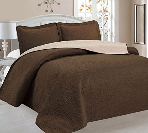 Home Sweet Home Victoria Design Reversible 3 PC Quilt Bedspread Sets (Full/Queen, Brown/Beige)
