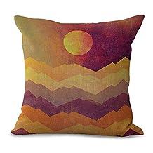 "YJ Bear Abstract Mountain Sun Print Linen Decorative Throw Cushion with Filler Office Chair Seat Back Cushion Decorative Pillow with Insert 18"" X 18"""