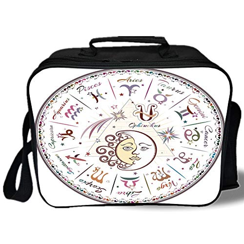 Denim Calendar Chart - Zodiac Decor 3D Print Insulated Lunch Bag,Western Chart with All Signs Aries Virgo Leo Taurus Libra Mystique Fate Calendar,for Work/School/Picnic,Multi