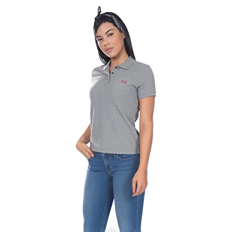 Camisa Polo Levis Feminina Classic Batwing Woman Cinza  Amazon.com.br   Amazon Moda c74531d2389d8