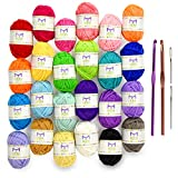 Mira Handcrafts 24 Acrylic Yarn Skeins | Total of 525 Yards Craft Yarn for Knitting and Crochet | Includes 2 Crochet Hooks, 2 Weaving Needles, 7 E-Books | DK Yarn | Perfect Beginner Kit: more info