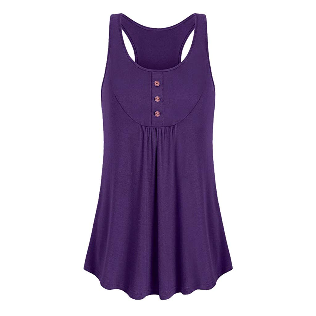Tank Tops for Women, Kaitobe Womens Casual Round Neck Loose Fit Button Sport Sleeveless Cami Vest Blouse Tops Purple