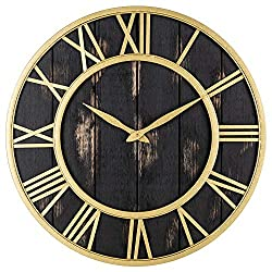 Oldtown Farmhouse Metal & Solid Wood Noiseless Wall Clock (Black Gold, 18-inch)