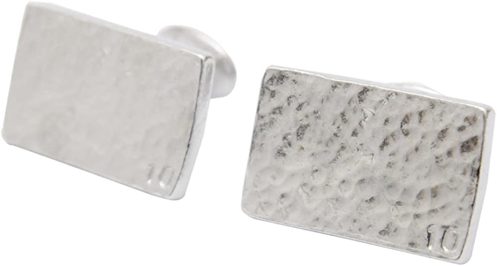 Pirantin 10 Year for Him Rectangle Beaten Tin Cufflinks with Small 10.