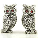 Owl Couple Pair, Stainless Steel Look, Collectible Figurines, 2.75-inch