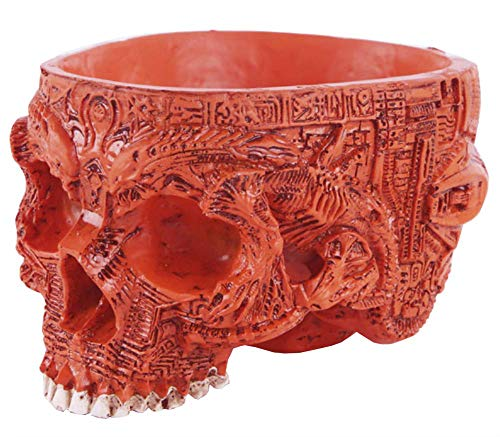 Funnuf Resin Halloween Skull Candy Bowl Flowerpot Dish Statue Sculpture Skeleton, 6.5 Inch, Red Carved -