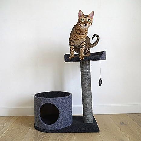 Rascador para Gatos de Color Rosa, Elegante y Moderno, Hecho de Fieltro y Cuerda, Color Gris: Amazon.es: Productos para mascotas