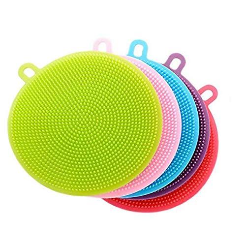 CLOVERHOME BestSponges 003 Brush Set - Best Mini Flexible Silicon Kitchen Sponge Scrubber - Food Grade - Antibacterial - Dish Washing - Multi Purpose - Clea, 4.52inch 4.52inch, Multicolor