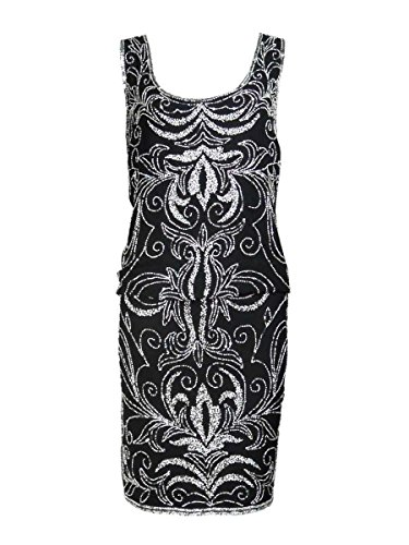 J Kara Women's Sleeveless Beaded Chiffon Blouson Dress (1...