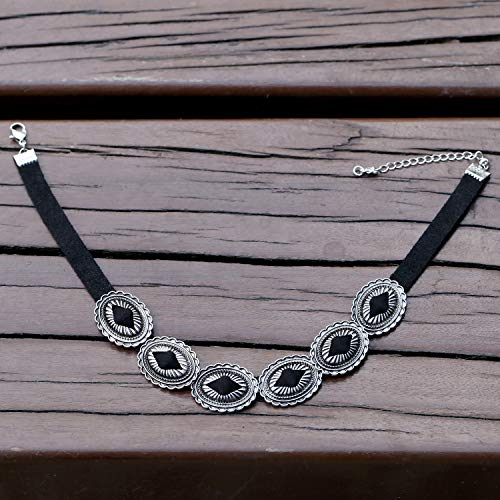 Vintage Ethnic Boho Statement Choker Necklace Adjustable Black Collar Alloy Pendant Necklace for Women by Pearly Wonders (Image #3)