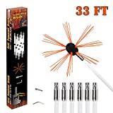 Chimney Brush-Electrical Drill Drive Sweeping Cleaning Tool Kits with Nylon Flexible Rods (10 rods)