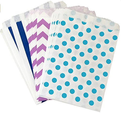 48 Pack Blue Lilac White x 7.5 Inches Chevron Stripe Polka Dot Favor Bags 5.5 Under The Sea Mermaid Theme Paper Treat Sacks