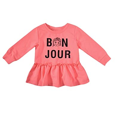 c7da126a2e6f Amazon.com: Baby Girl Dress, Finess Cute Kids Newborn Baby Girls Long  Sleeves Letter Print Princess Dresses Clothes: Clothing
