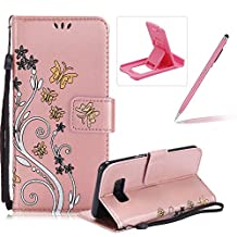 Strap Case for Samsung Galaxy S8 Plus,Smart Leather Cover for Samsung Galaxy S8 Plus,Herzzer Stylish Butterfly Flower Design Wallet Folio Case Full Body PU Leather Protective Stand Cover with Inner Soft Silicone Shell for Samsung Galaxy S8 Plus + 1 x Free Pink Cellphone Kickstand + 1 x Free Pink Stylus Pen - Rose Gold