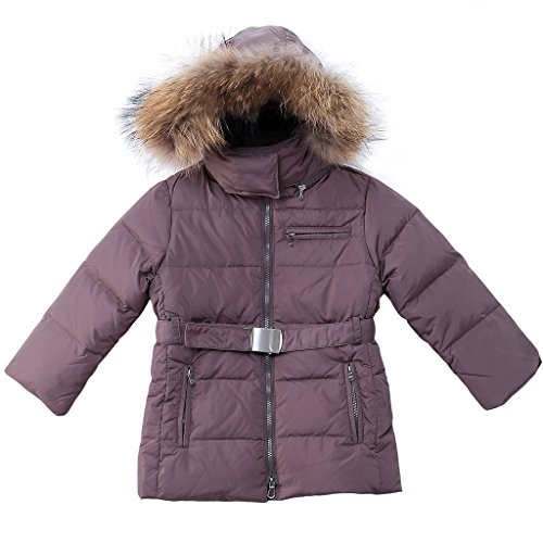 Oceankids Little Girl's Coffee Detachable Hooded Zip Fastener Duck Down Parka 5-6 Years by OCEANKIDS