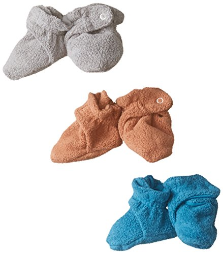 Zutano Unisex-Baby Newborn Cozie Fleece 3 Piece Baby Bootie Gift Set, Pago/Gray/Chocolate, 12 Months