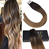 "Sunny Tape in Hair Ombre Hair Extensions 16 "" Tape Extensions Human Hair Ombre #2 Fading to Medium Brown Mixed Caramel Blonde Real Human Hair 50G 20Pcs"