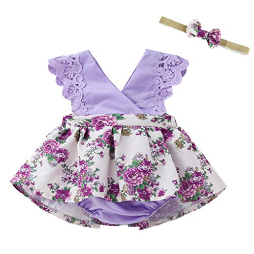 3-24 Months Newborn Infant Kids Clothes Set Baby Girls Romper Dress Sleeveless Lace Floral Bodysuit with Hairaband (3-6 Months, Purple 01)