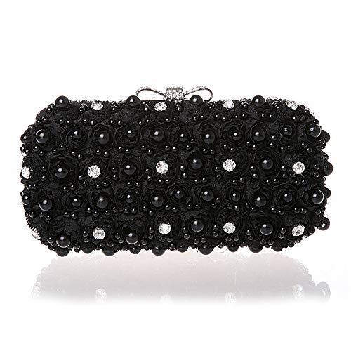 ZTDXCL Women's Clutch Bag Diamond Chiffon Evening Bag Party Dress Dance Party Handbag Evening Bag, Black