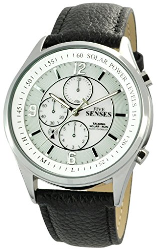 Talking Watch- Atomic Solar Power Senses Unisex Leather Band Set Itself Watch (Watch Solar Talking)