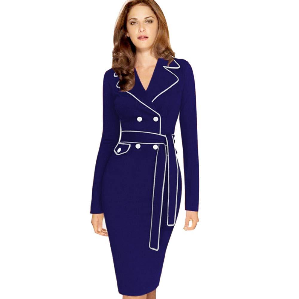 JESPER Women Ladies Long Sleeve Suit Collar Color Pencil Skirt Dress US 12 Blue