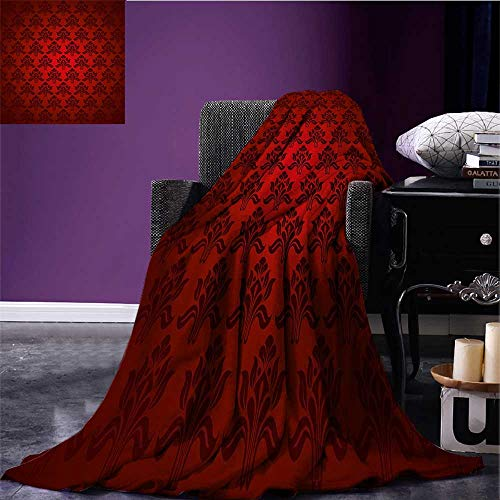 Maroon Throw Blanket Classical Antique Pattern Baroque Damask Motifs Curves Renaissance Revival Fashion Plush Throw Blanket Red Black Bed or Couch 60