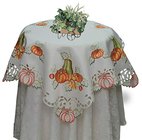 Creative Linens Fall Autumn Harvest Thanksgiving Embroidered Cutwork Pumpkin Sunflower Tablecloth 33x33 Square Topper Ivory