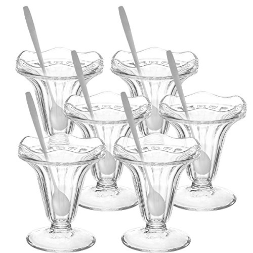 Glokers Dessert Cups, 5.5 Ounce Ice Cream Bowl or Sundae Cup, Clear Glass Tumblers Including Long Handle Stainless Steel Sundae Spoons, Set of 6 Each