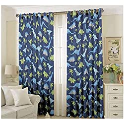 Golden linens 4 Pieces printed kids design Rod Pocket Window Curtains/drape/panels/treatment Set with Tie Back DINOSAUR