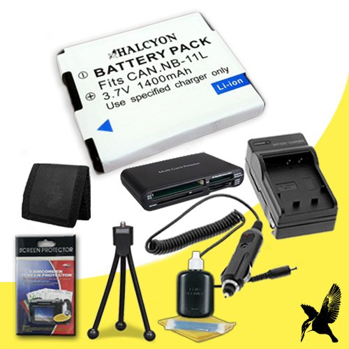 (Halcyon 1400 mAH Lithium Ion Replacement NB-11L Battery and Charger Kit + Memory Card Wallet + SDHC Card USB Reader + Deluxe Starter Kit for Canon PowerShot A2400 IS 16 MP Digital Camera and Canon NB-11L )