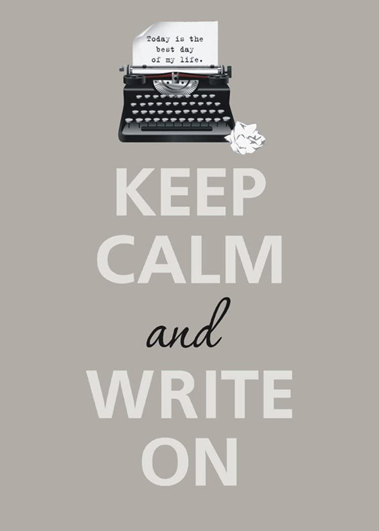 Rectangle Refrigerator Magnet - Keep Calm and Write On Typewriter