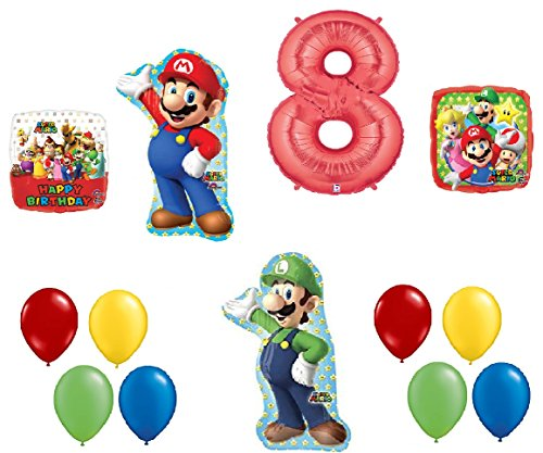 Price comparison product image 8 8th Birthday Super Mario Brothers Mega 13 Piece Foil Mylar and Latex Balloons Party Decoration Set
